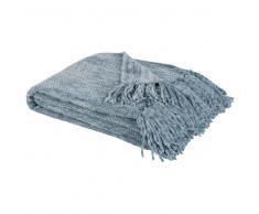 Plaid lavorato a maglia blu, 125x150 cm