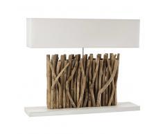 Lampada in legno e abat-jour in cotone ecru H 67 cm PATTAYA