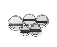 Scaffale in metallo nero e specchi