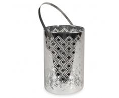 Lanterna argento in vetro H 18 cm UMEA