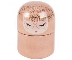 Cofanetto portagioie bambola in ceramica rosa