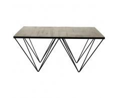 Tavolo basso quadrato in pino riciclato e metallo Diamond