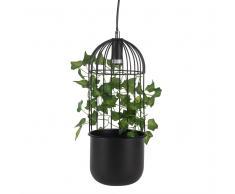 Lampada a sospensione in metallo nero e foglie di edera artificiali
