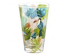 Boccale da birra in vetro stampe tucano/giungla
