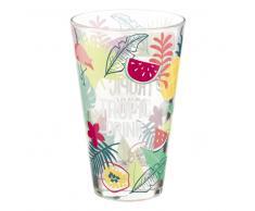 Boccale da birra in vetro con stampe tropicali