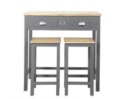 Tavolo alto con 2 sgabelli in rovere e pino grigia Chablis