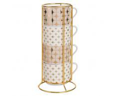 4 tazze in porcellana con motivi dorati con supporto