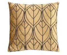 Fodera di cuscino giallo senape con stampa a foglie, 40x40 cm