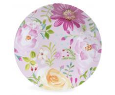 Piatto da dessert in porcellana rosa con motivi floreali D 21 cm BOHÈME