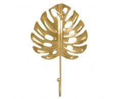 Attaccapanni a 1 gancio foglia tropicale in metallo dorato