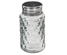 Saliera in vetro grigio e metallo SAPHIR