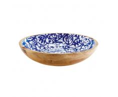 Svuotatasche in legno di mango a motivi blu e bianchi