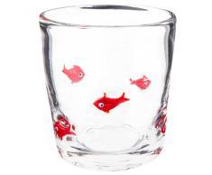 Bicchiere in vetro con motivi di pesci rossi