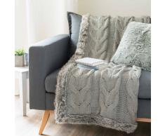 Plaid lavorato a maglia e simil pelliccia grigio 125 x 150 cm COPENHAGUE