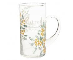 Caraffa in vetro con stampa a fiori