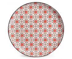 Piatto piano in maiolica a fiori rossi SEVILLE