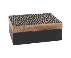 Scatola in legno di mango stampa zebrata