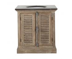 Mobile in legno riciclato e marmo per lavandino L 80 cm Persiennes