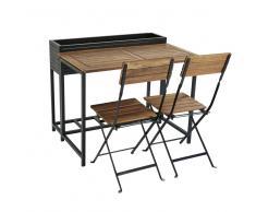 Tavolo da giardino e 2 sedie in legno massello di acacia e metallo nero Calathea