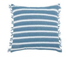 Fodera di cuscino in cotone blu e écru, 40x40 cm