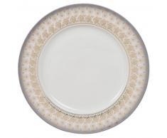 Piatto piano bianco in porcellana a motivi