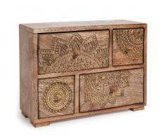 Scatola 4 cassetti in legno dorato H 21 cm MANDALA