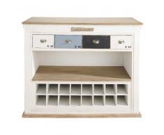 Mobile bar bianco in legno effetto anticato con cassetti L 129 cm Molene