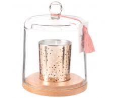 Candela profumata dorata con campana in vetro