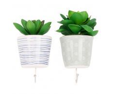 2 attaccapanni vasetto piante grasse artificiali