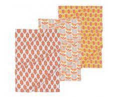 3 strofinacci color giallo/arancio in cotone THELMA