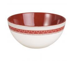 Insalatiera in maiolica rossa e bianca