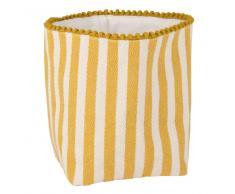 Cestino portapane in cotone giallo e bianco con motivi a righe