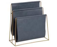Portariviste blu-grigio in metallo dorato