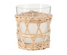 Candela con vasetto in vetro e base intrecciata