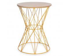 Tavolino da salotto in simil legno e metallo giallo senape YANN