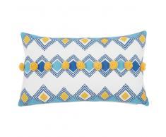 Fodera di cuscino in cotone a motivi con pompon, 30x50 cm