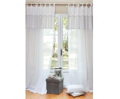 Tenda in cotone bianco con laccetti 140 x 250 cm COTON D'AUTREFOIS