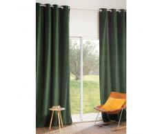 Tenda verde in velluto con occhielli 140 x 300 cm FORÊT