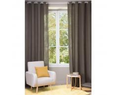 Tenda in lino slavato marrone con occhielli 130 x 300 cm