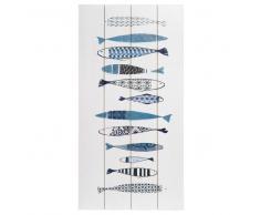 Quadro con stampe in simil legno bianco 60x30 cm FISHES