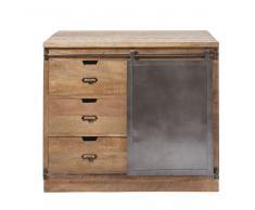 Mobile basso da cucina a 3 cassetti e 1 anta in legno massello di mango Melchior