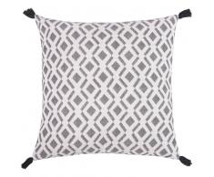 Fodera di cuscino in cotone bianca e nera, 50x50