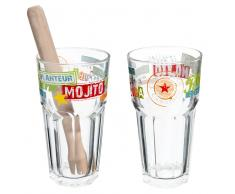 Set 2 bicchieri multicolore da mojito in vetro