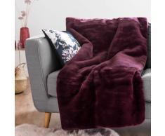 Plaid lavorato a maglia prugna, 150x180 cm