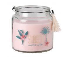 Candela profumata rosa in vetro stampato