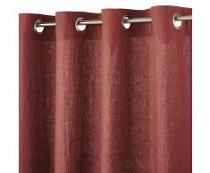 Tenda con occhielli in lino rosso carminio, 130x300
