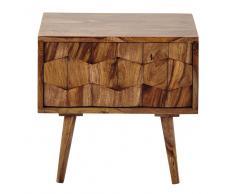Comodino in massello di legno di sheesham con cassetto L 45 cm Quadra