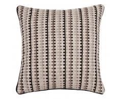 Fodera di cuscino écru e talpa a motivi, 40x40 cm