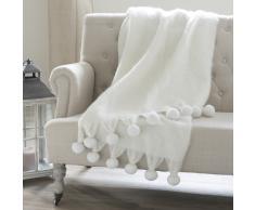 Coperta ecru in lana con pompon 130 x 170 cm POMPONE