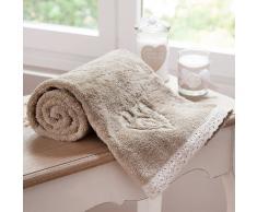 Telo da bagno beige in cotone 50 x 100 cm CAMILLE